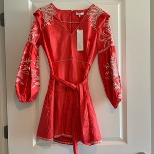 NWT Parker red dress with puff sleeves and belt